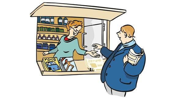 Ein Mann kauft am Kiosk eine Zeitung.