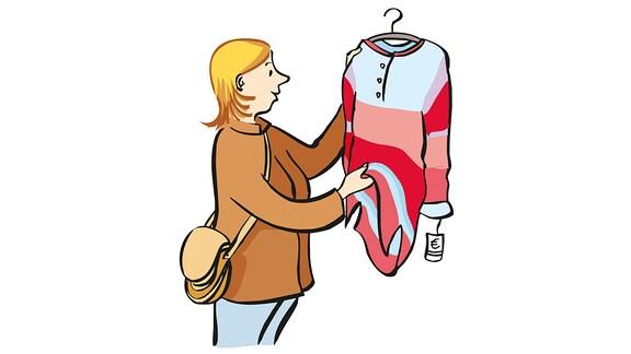 Zeichnung: Eine Frau hält einen Kleiderbügel mit einem Kleid darauf hoch.
