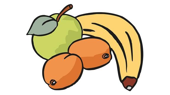 Zeichung: 1 Banane, 1 Apfel und 2 Aprikosen