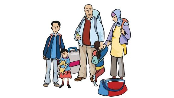 Flüchtlinge-Familie