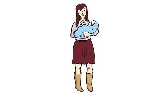 Zeichung von einer Frau mit einem Baby auf dem Arm