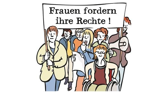Zeichnung: Mehrere Frauen bei einer Demo