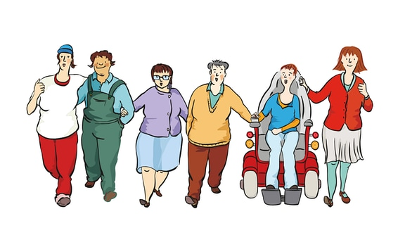 Zeichnung: Mehrere Frauen zusammen bei einem Streik