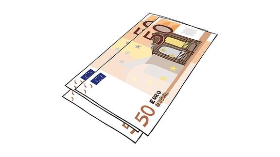 Zeichnung von mehreren 50-Euro-Scheinen