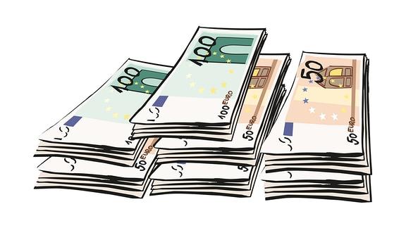 Eine Zeichnung: Mehrere Geldscheine liegen in Bündeln nebeneinander.