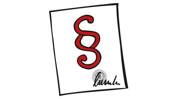 Zeichung: Ein Zettel mit einem Paragrafzeichen