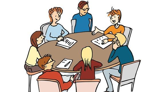 Jugendliche-besprechen