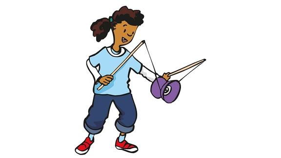 Zeichnung von einem spielenden Kind mit einem Diabolo-Spiel
