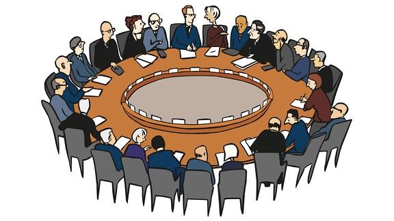Zeichnung: Viele Menschen sitzen um einen runden Tisch bei einer Konferenz.