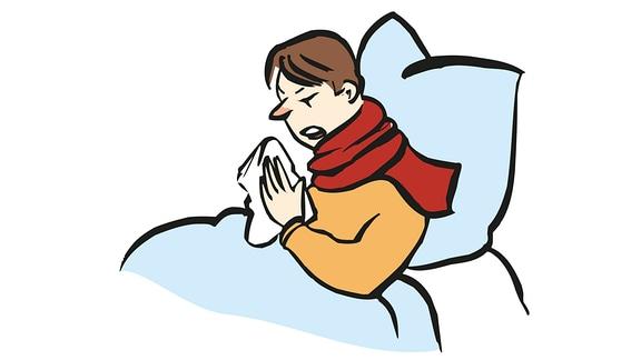 Zeichnung: Eine Person putzt sich die Nase, weil sie erkältet ist.
