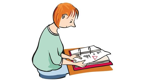 Zeichung: Eine Frau liest ein Buch