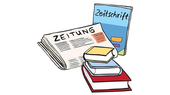 Zeitungen und Bücher liegen da