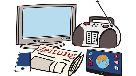 Medien. Zeitung, Radio, Fernseher, Computer neben einander.