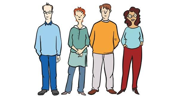 Zeichnung von 4 verschiedenen Menschen