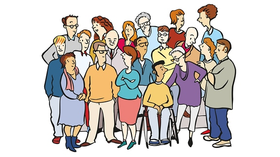 Eine Zeichnung zeigt viele verschiedene Menschen.