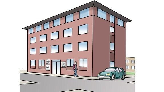 Zeichnung: ein Büro-Gebäude.