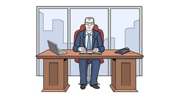 Zeichnung: Ein Mann sitzt an einem Schreibtisch.