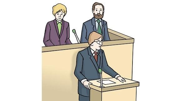 Eine Zeichnung: Politiker stehen an Rednerpulten.