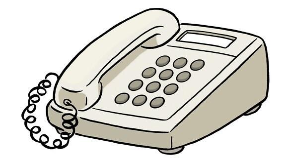 Eine Zeichnung: ein Telefon.