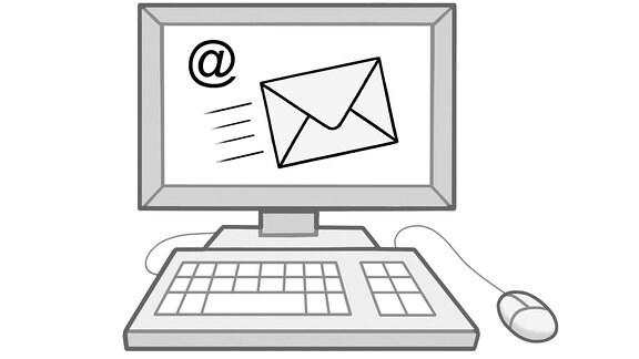 Eine Zeichnung: ein Computer mit Brief- und Altzeichen auf dem Bildschirm.