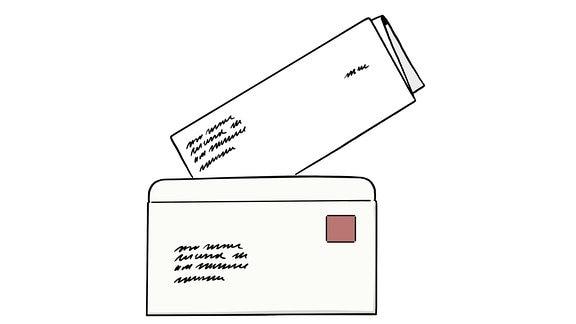 Eine Zeichnung: ein Brief.