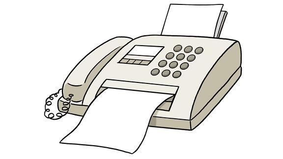 Eine Zeichnung: ein Fax-Gerät.