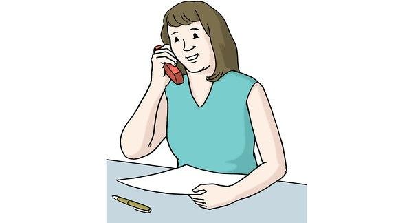 Eine Zeichnung: Eine Frau telefoniert.