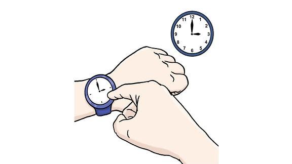 Eine Zeichnung: Ein Finger tippt auf die Uhr an einem Handgelenk.