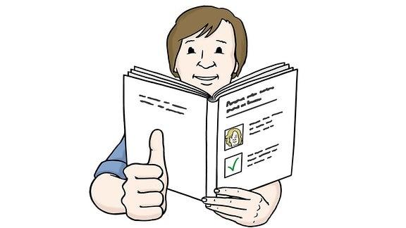 Eine Zeichnung: Ein Mann hält ein Buch in der Hand.