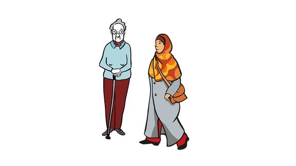 Eine Zeichnung: eine alte Frau und eine Frau mit Kopftuch.