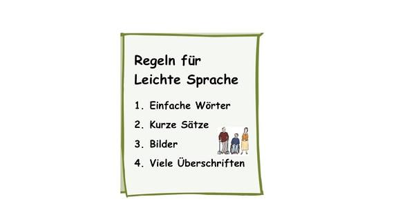 Eine Zeichnung: Regeln für Leichte Sprache in der Übersicht.