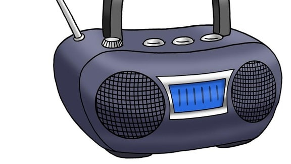 Eine Zeichnung: ein Radio.
