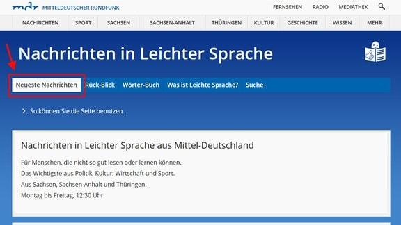 """Die Seite """"Nachrichten in Leichter Sprache"""" ist zu sehen.  Ein Pfeil deutet auf das Auswahlfeld """"Neueste Nachrichten""""."""