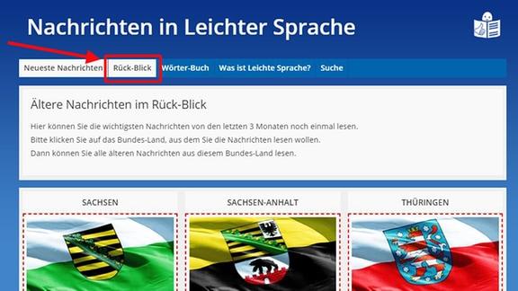 """Die Seite """"Nachrichten in Leichter Sprache"""" ist zu sehen.  Ein Pfeil deutet auf das Auswahlfeld """"Rück-Blick""""."""