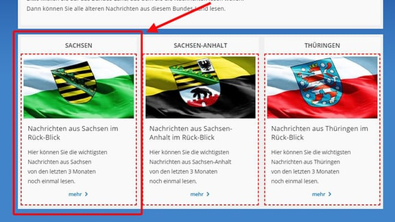 """Die Rück-Blicks-Seite von den """"Nachrichten in Leichter Sprache"""" ist zu sehen.  Ein Pfeil deutet auf die Auswahlfelder für die einzelnen Bundes-Länder Sachsen, Sachsen-Anhalt und Thüringen."""