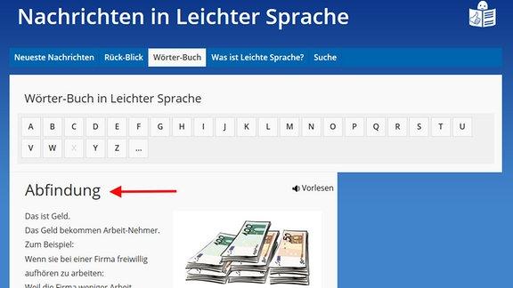"""Die Wörter-Buchs-Seite von den """"Nachrichten in Leichter Sprache"""" ist zu sehen.  Ein Pfeil deutet auf einen Begriff im Wörter-Buch: Abfindung. Darunter kann man die Erklärung für das Wort lesen."""