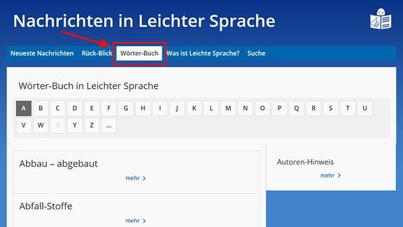 """Die Seite """"Nachrichten in Leichter Sprache"""" ist zu sehen.  Ein Pfeil deutet auf das Auswahlfeld """"Wörter-Buch""""."""