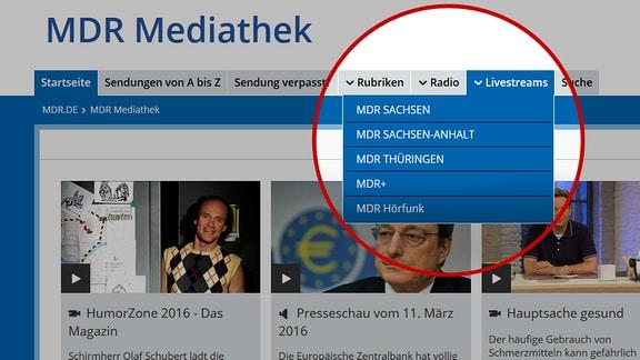 Liste des Livestreamangebots von MDR.de.