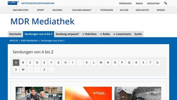 Anfangsbuchstaben der Sendungen in der MDR Mediathek.