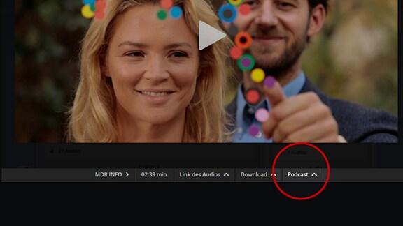 Ausschnitt von MDR.de, Fläche zum Abonnieren eines Podcasts.