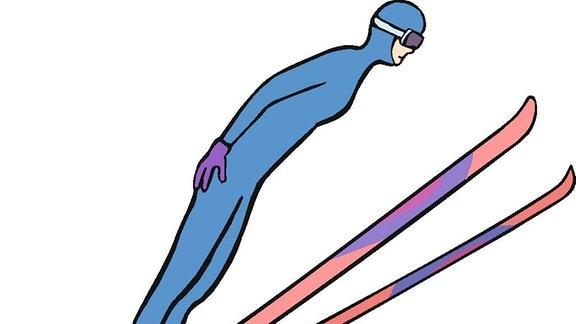 Zeichnung eines Ski-Springers in der Luft