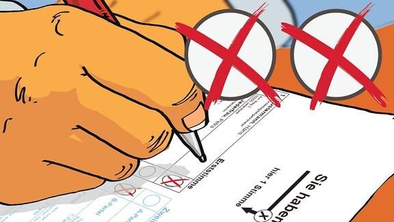 Eine Zeichnung: Eine Hand hält einen Stift und macht Kreuze auf einem Stimmzettel.