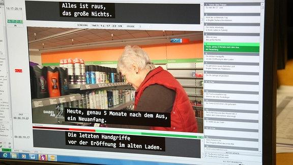 Ein Monitor zeigt Software zur Untertitelung