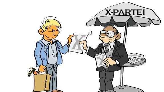 Eine Zeichnung: Ein Mann verteilt an einem Stand Programmzettel seiner Partei.