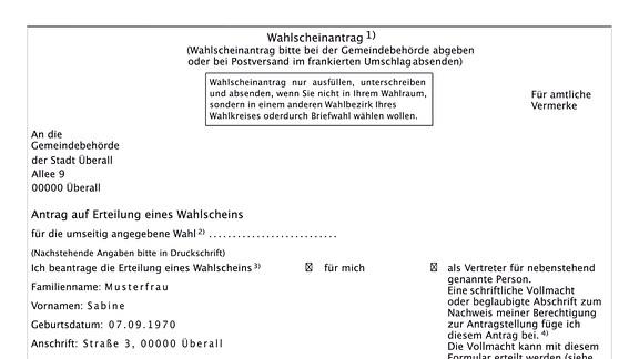 Wahl-Schein-Antrag Bundes-Tags-Wahl