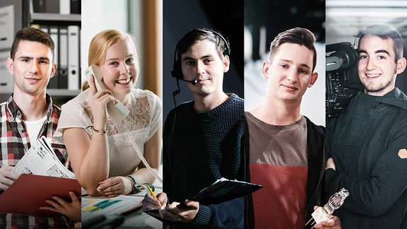 Collage mit den Gesichtern von jungen Männern und Frauen