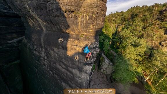 """Kletterer Alex Hanicke klettert Route """"Lohn der Angst"""" in der Sächsischen Schweiz"""