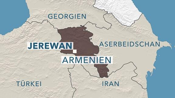 Karte von Armenien und Anrainerstaaten