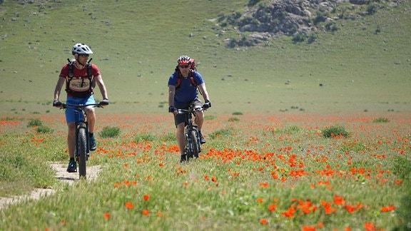 Zwei Männer auf Mountainbikes in einer Gebirgslandschaft