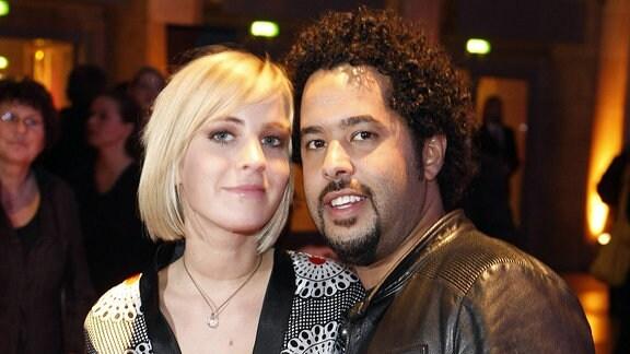 Sänger Adel Tawil (Ich und Ich) mit Freundin Jasmin Weber (Schauspielerin) während der Aftershow Party der Preisverleihung des Echo 2008 in Berlin
